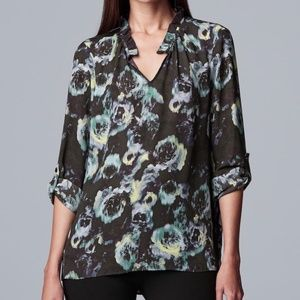 NWT Simply Vera Wang Ruched Tunic Blouse Large